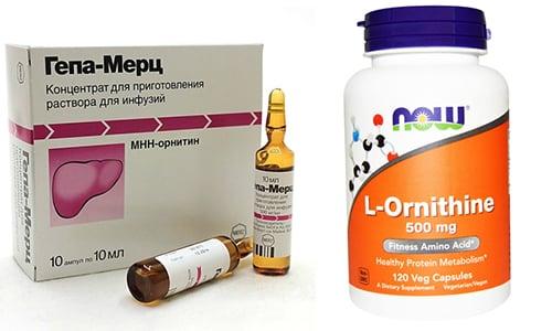 Защитить орган и снять с него нагрузку помогут гепатопротекторы: Гепа-Мерц или Орнитин