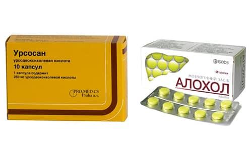 При заболеваниях печени можно использовать Аллохол или Урсосан