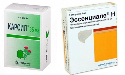 Использование фармацевтических продуктов Карсила или Эссенциале способствует улучшению функционирования печени и устранению последствий интоксикации